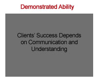 The phrase 'Demonstrated Ability' on a white background above a gray box with black text 'Clients` Success Depends on Communication and Understanding'