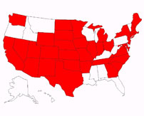A map of the United States showing 35 of the 48 states with a red background