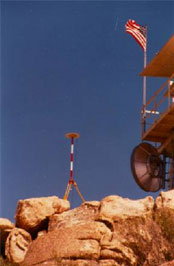 Surveying equipment installed on boulders